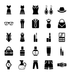 Fashionwear apparel glyph icons pack vector