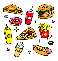 fast food - colorful isolated stickers set vector image