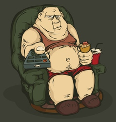 Fat man with a remote control color vector