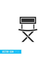 fishing chair icon in silhouette flat style vector image