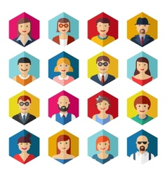Flat avatar icons faces people symbols signs vector