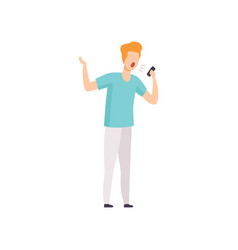 furious man shouting into a mobile phone vector image