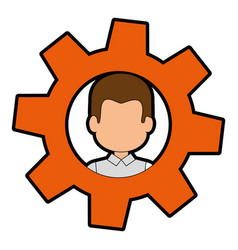 Gear with man face icon vector