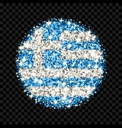 greece flag sparkling badge vector image