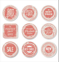 grounge round paper stickers 2 vector image