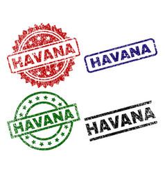 Grunge textured havana stamp seals vector
