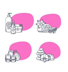 hand drawn spa elements stickers vector image