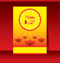 happy diwali traditional indian festival poster vector image