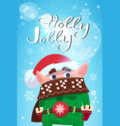 holly jolly merry christmas banner green elf cute vector image