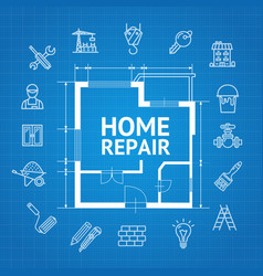 home repair concept witch building construction vector image