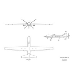 Image of military drone top front and side view vector