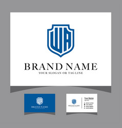 Initials wa shield logo with a business card vector
