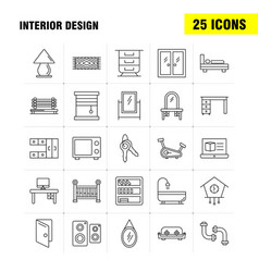 Interior design line icons set for infographics vector