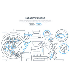 japanese cuisine - thin line design style banner vector image
