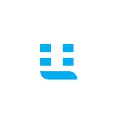 logo letter u blue stripes vector image