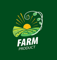 logo with the image of the field for farms vector image