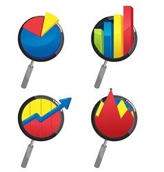 Magnifier Stock Market Graph Investor vector