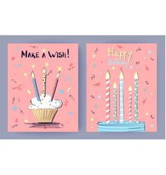 make a wish happy birthday vector image