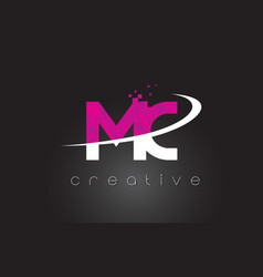 Mc m c creative letters design with white pink vector