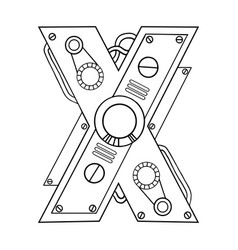 Mechanical letter x engraving vector
