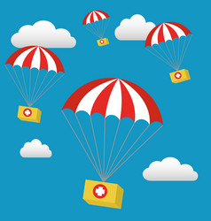 Medical relief supplies air drop with parachutes vector