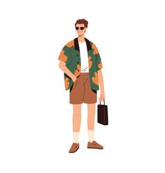 Modern man wearing fashion casual clothes stylish vector