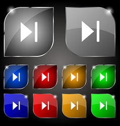 Next track icon sign Set of ten colorful buttons vector
