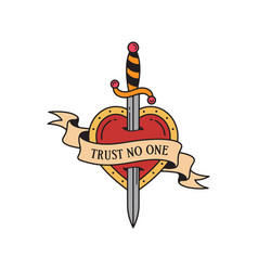 Old school tattoo emblem label with dagger and vector