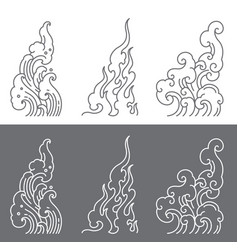 Oriental water and fire and cloud symbolic vector