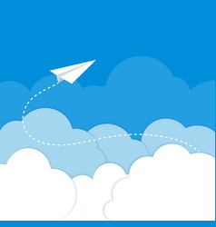 paper airplane in clouds on a blue background vector image