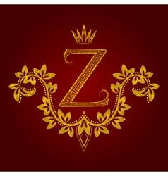 Patterned golden letter Z monogram in vintage vector
