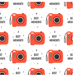 photo camera seamless pattern on white background vector image
