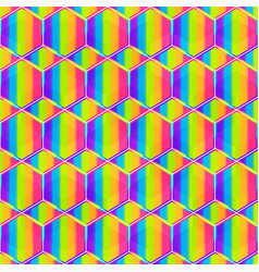 rainbow honeycomb seamless pattern vector image