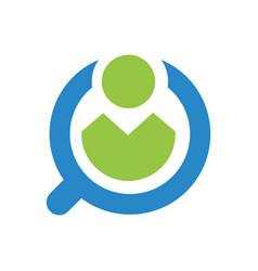 Recruitment logo template find job desk vector