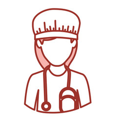 red contour of half body of faceless nurse vector image