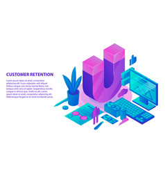 Retention strategy concept background isometric vector