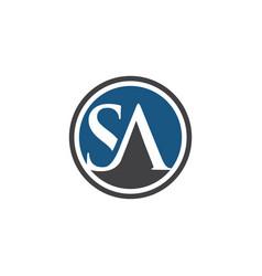 sa initials logo solid circle vector image