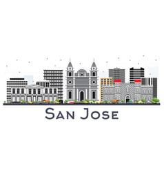 san jose costa rica city skyline with color vector image