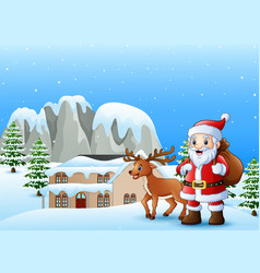 santa claus carrying sack w vector image