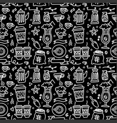 seamless patterns with coffee set - cup coffee vector image