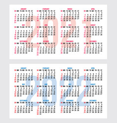 Set calendar grid for years 2021-2022 vector