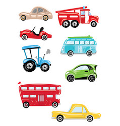 set cartoon transport collection cars and vector image