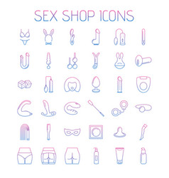 Sex shop line icons isolated on white background vector