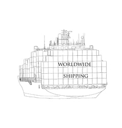 Ship overloaded with container Worldwide Shipping vector