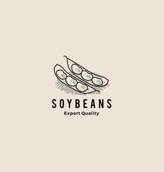 soybean logo hipster retro vintage icon vector image
