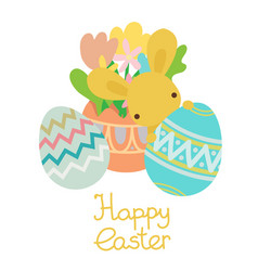 spring flowers with eggs with rabbit vector image