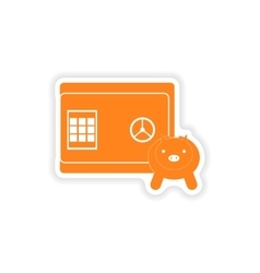 Stylish sticker on paper safe and piggy bank vector