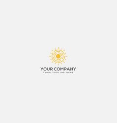 Sunblock logo sun and fire logo sun protect line vector