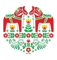 Swedish Dala or Daleclarian horse folk pattern vector