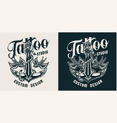 tattoo studio monochrome label vector image